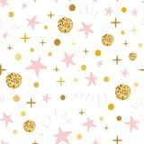 Hand drawn seamless pattern decoreted gold balls pink stars for Christmas backgound or baby shower stock illustration