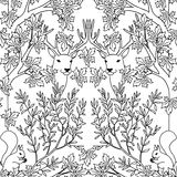 Hand drawn seamless pattern with deer and squirrels Royalty Free Stock Images