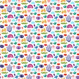 Hand drawn seamless pattern with different cool elements cartoon minimalism stock illustration