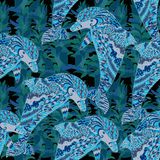 Hand drawn seamless pattern with dolphin. Royalty Free Stock Images