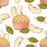Hand drawn seamless pattern with doodle apple pie cupcake and buttercream. Food background stock illustration