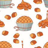 Hand drawn seamless pattern with doodle cupcake and caramel buttercream. Food background. Vector illustration Stock Photography