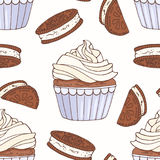 Hand drawn seamless pattern with doodle cupcake, chocolate cookie and buttercream. Food background Stock Photos
