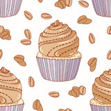 Hand drawn seamless pattern with doodle cupcake and coffee buttercream. Food background Royalty Free Stock Images