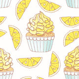 Hand drawn seamless pattern with doodle cupcake and lemon buttercream. Food background Stock Photos