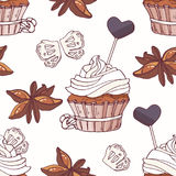 Hand drawn seamless pattern with doodle cupcake, stars of anise, licorice candy and buttercream. Food background Stock Images