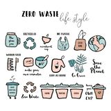 Hand drawn seamless pattern with  doodle elements of zero waste lifestyle. Eco style illustration set vector illustration