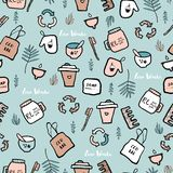 Hand drawn seamless pattern with  doodle elements of zero waste lifestyle. Eco style illustration set royalty free illustration