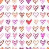 Hand drawn seamless pattern with doodle hearts. Royalty Free Stock Photography