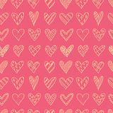 Hand drawn seamless pattern with doodle hearts. Royalty Free Stock Photos