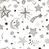 Hand drawn seamless pattern with doodle stars Stock Photos