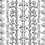 Hand drawn seamless pattern with ethnic geometrical motifs Stock Photos