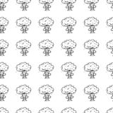 Hand Drawn seamless pattern explosion doodle. Sketch style icon. Military decoration element. Isolated on white background. Flat royalty free illustration