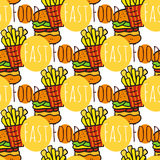 Hand drawn seamless pattern with fast food. Doodle street food. Fries potato and burgers background. For menu Stock Photos