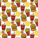 Hand drawn seamless pattern with fast food. Doodle street food. Fries potato, cola and burgers background. Royalty Free Stock Photography