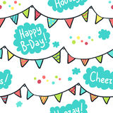 Hand-drawn seamless pattern with flags, clouds and birthday gree Royalty Free Stock Photos
