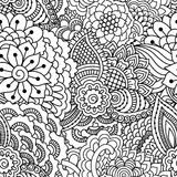 Hand drawn seamless pattern with floral elements. Black and white ethnic background. Good for coloring book for adult Royalty Free Stock Images