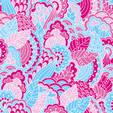 Hand drawn seamless pattern with floral elements. Colorful background. Pattern can be used for fabric, wallpaper or wrapping Stock Photography