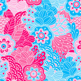 Hand drawn seamless pattern with floral elements. Colorful background. Pattern can be used for fabric, wallpaper or wrapping Royalty Free Stock Photos