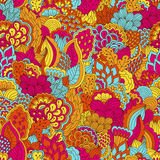Hand drawn seamless pattern with floral elements. Colorful background. Pattern can be used for fabric, wallpaper or wrapping Royalty Free Stock Images