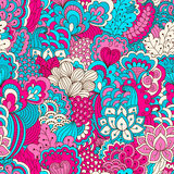 Hand drawn seamless pattern with floral elements. Colorful background. Pattern can be used for fabric, wallpaper or wrapping Stock Images