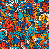 Hand drawn seamless pattern with floral elements. Colorful background. Vector illustration Royalty Free Stock Image