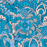 Hand drawn seamless pattern with floral elements. Colorful background. Vector illustration Stock Image