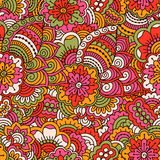 Hand drawn seamless pattern with floral elements. Colorful background. Vector illustration Stock Images