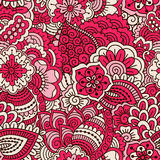 Hand drawn seamless pattern with floral elements. Colorful background. Vector illustration Stock Photos