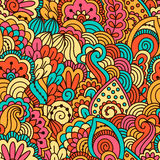 Hand drawn seamless pattern with floral elements. Colorful background. Vector illustration Stock Photo