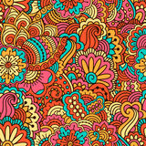 Hand drawn seamless pattern with floral elements. Colorful background. Vector illustration Royalty Free Stock Photo
