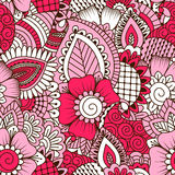 Hand drawn seamless pattern with floral elements. Royalty Free Stock Photos