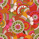 Hand drawn seamless pattern with floral elements. Royalty Free Stock Image