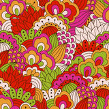 Hand drawn seamless pattern with floral elements. Royalty Free Stock Images