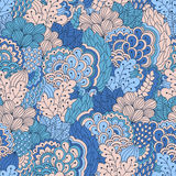 Hand drawn seamless pattern with floral elements. Stock Photo