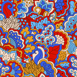 Hand drawn seamless pattern with floral elements. Royalty Free Stock Photo