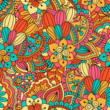 Hand drawn seamless pattern with floral elements. Colorful ethnic background. Pattern can be used for fabric, wallpaper or wrapping Stock Photos