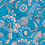 Hand drawn seamless pattern with floral elements. Colorful ethnic background. Stock Images