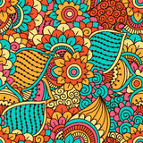 Hand drawn seamless pattern with floral elements. Colorful ethnic background. Royalty Free Stock Photos