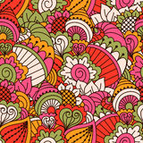 Hand drawn seamless pattern with floral elements. Colorful ethnic background. Stock Photos