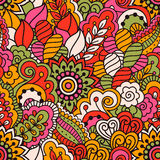 Hand drawn seamless pattern with floral elements. Colorful ethnic background. Stock Photo