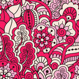 Hand drawn seamless pattern with floral elements. Colorful ethnic background. Stock Photography