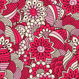 Hand drawn seamless pattern with floral elements. Colorful ethnic background. Pattern can be used for fabric, wallpaper or wrapping Stock Photography
