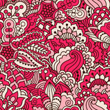 Hand drawn seamless pattern with floral elements. Colorful ethnic background. Pattern can be used for fabric, wallpaper or wrapping Royalty Free Stock Photography