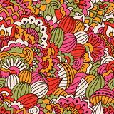 Hand drawn seamless pattern with floral elements. Colorful ethnic background. Pattern can be used for fabric, wallpaper or wrapping Royalty Free Stock Photos