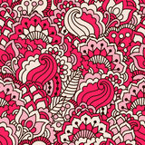 Hand drawn seamless pattern with floral elements. Colorful ethnic background. Pattern can be used for fabric, wallpaper or wrapping Royalty Free Stock Photo
