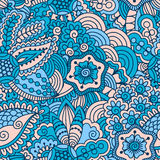 Hand drawn seamless pattern with floral elements. Colorful ethnic background. Pattern can be used for fabric, wallpaper or wrapping Royalty Free Stock Image