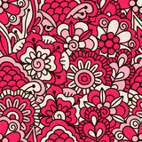 Hand drawn seamless pattern with floral elements. Royalty Free Stock Photography