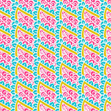 Hand drawn seamless pattern with floral elements. Colorful ethnic background. Pattern can be used for fabric, wallpaper or wrapping Stock Images