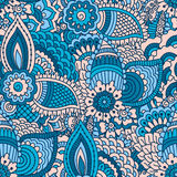 Hand drawn seamless pattern with floral elements. Stock Image